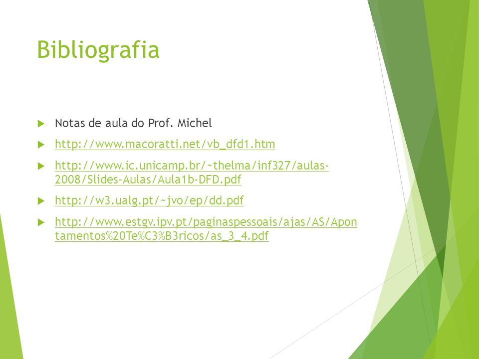 Bibliografia Notas de aula do Prof. Michel http://www.macoratti.net/vb_dfd1.htm http://www.ic.unicamp.br/~thelma/inf327/aulas- 2008/Slides-Aulas/Aula1