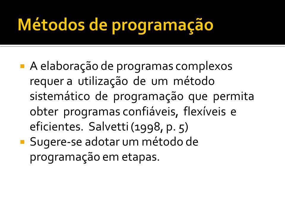 A elaboração de programas complexos requer a utilização de um método sistemático de programação que permita obter programas confiáveis, flexíveis e ef