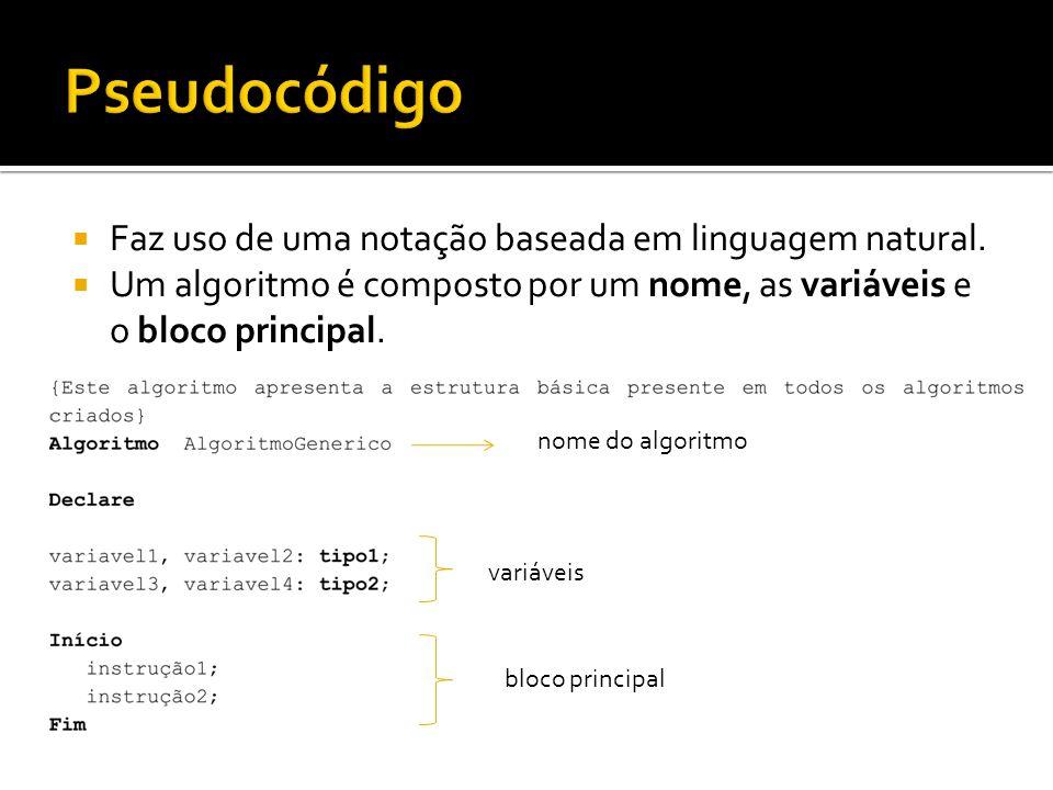 Faz uso de uma notação baseada em linguagem natural. Um algoritmo é composto por um nome, as variáveis e o bloco principal. nome do algoritmo variávei