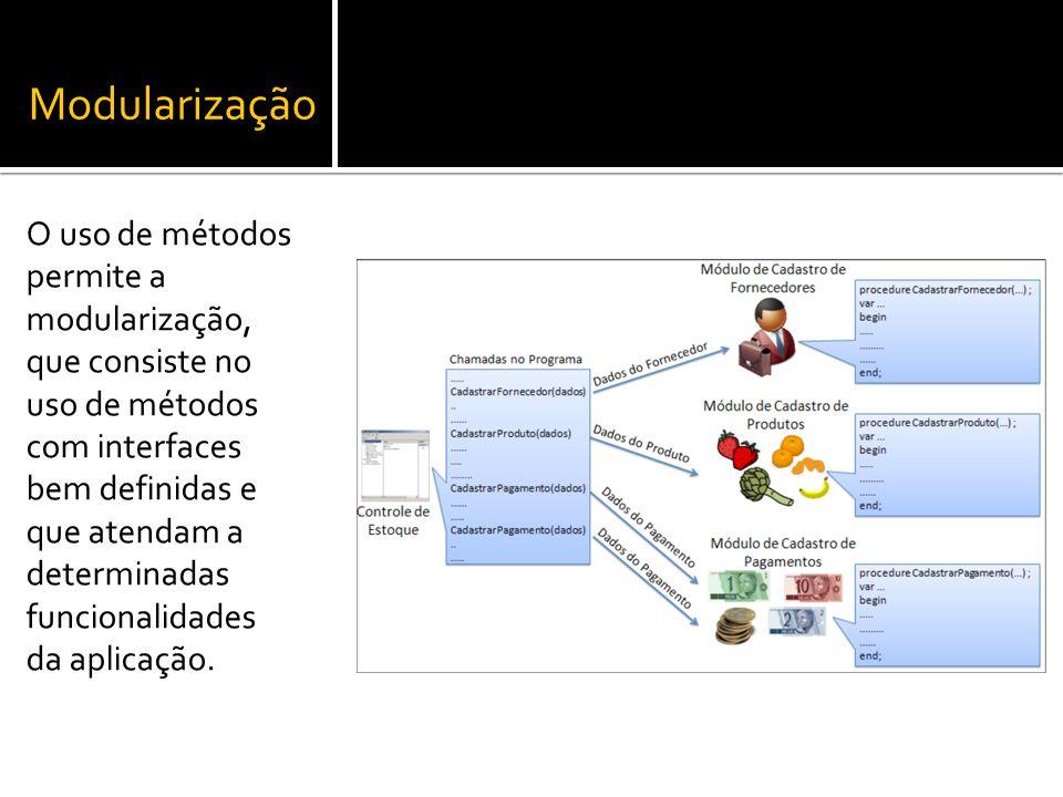 Modularização O uso de métodos permite a modularização, que consiste no uso de métodos com interfaces bem definidas e que atendam a determinadas funci