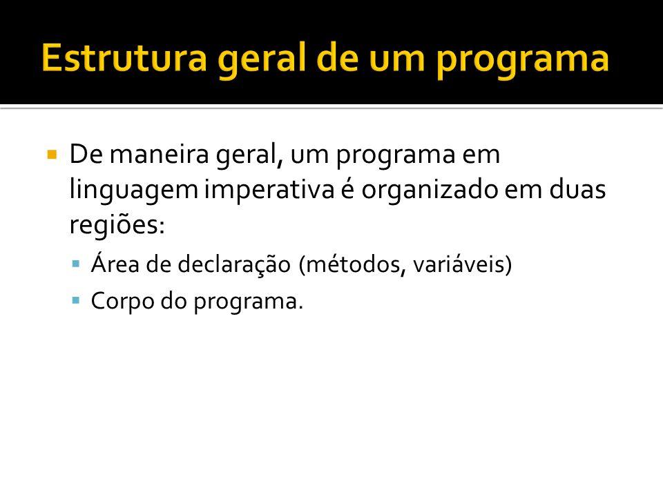 De maneira geral, um programa em linguagem imperativa é organizado em duas regiões: Área de declaração (métodos, variáveis) Corpo do programa.