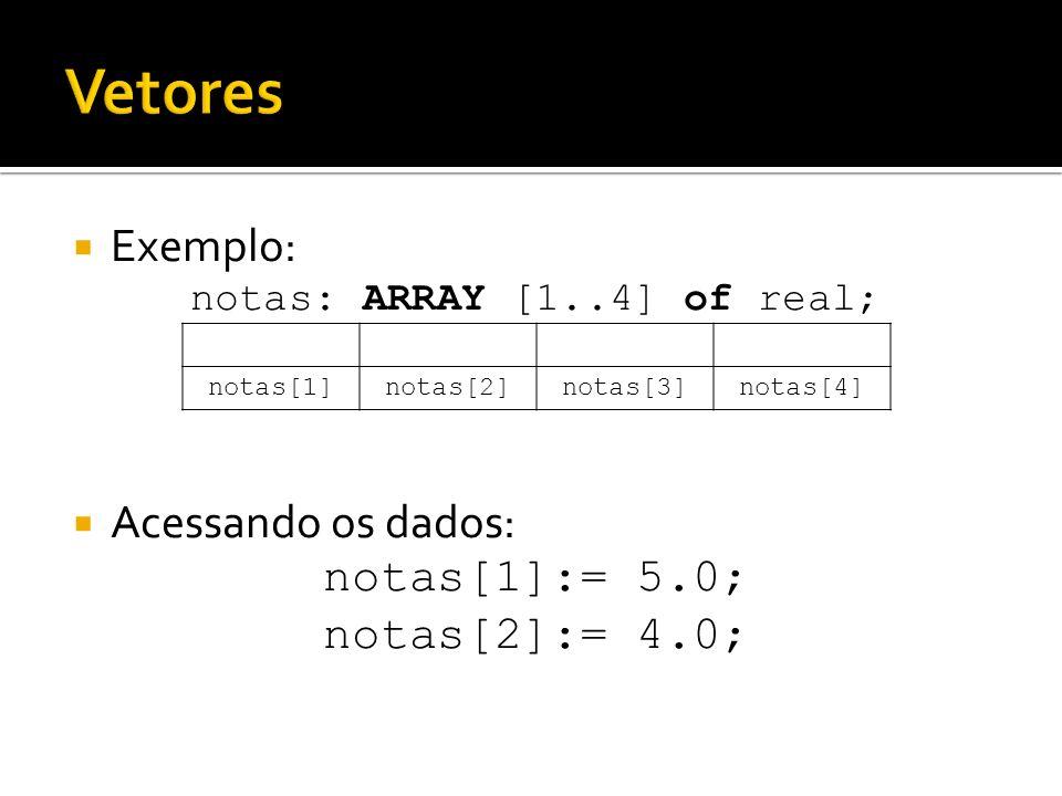 Exemplo: notas: ARRAY [1..4] of real; Acessando os dados: notas[1]:= 5.0; notas[2]:= 4.0; notas[1]notas[2]notas[3]notas[4]