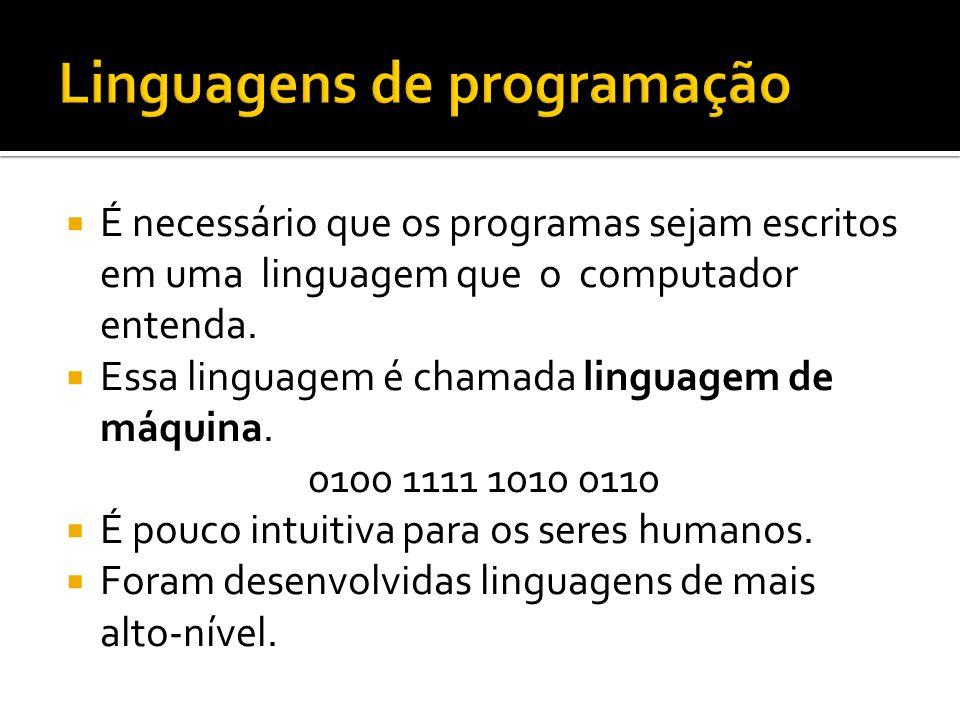 É necessário que os programas sejam escritos em uma linguagem que o computador entenda. Essa linguagem é chamada linguagem de máquina. 0100 1111 1010