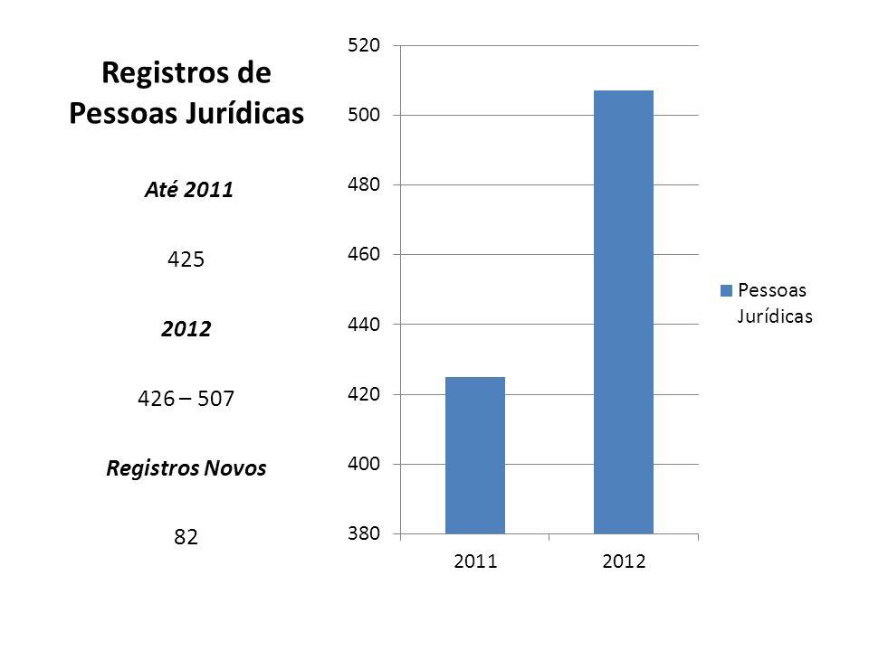 PESSOAS JURÍDICAS DESCRIÇÃO2012 TOTAL507 ATIVAS*365 INATIVAS142 CAMPO GRANDE214* DOURADOS29* INTERIOR122*