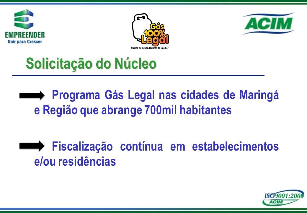 Solicitação do Núcleo Programa Gás Legal nas cidades de Maringá e Região que abrange 700mil habitantes Fiscalização contínua em estabelecimentos e/ou