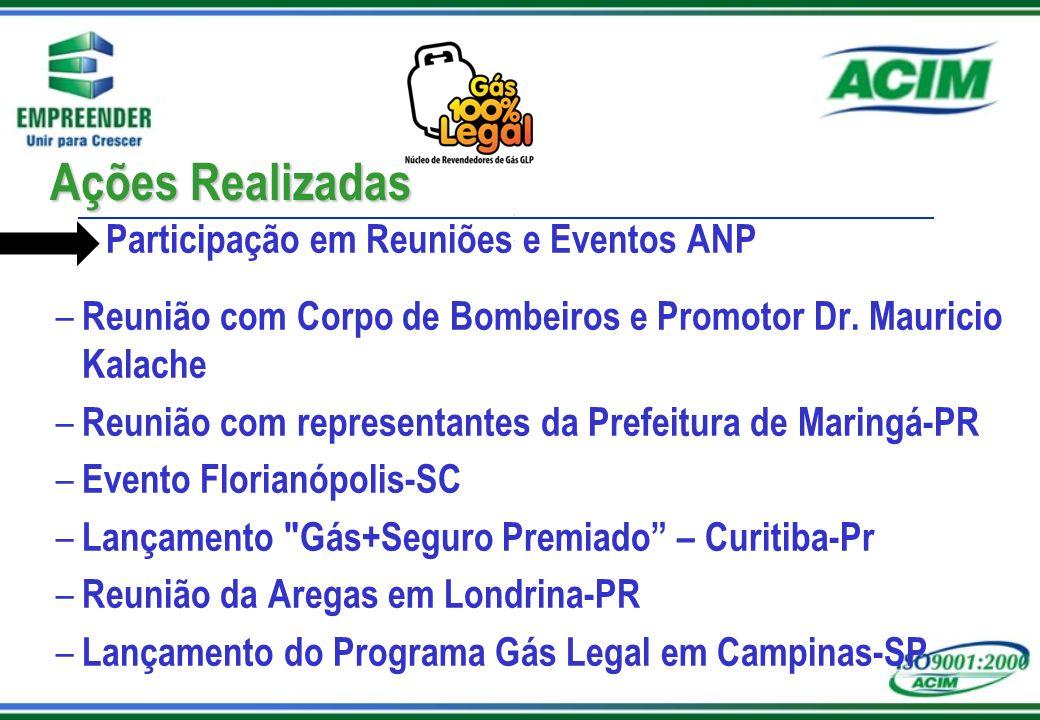 Solicitação do Núcleo Programa Gás Legal nas cidades de Maringá e Região que abrange 700mil habitantes Fiscalização contínua em estabelecimentos e/ou residências