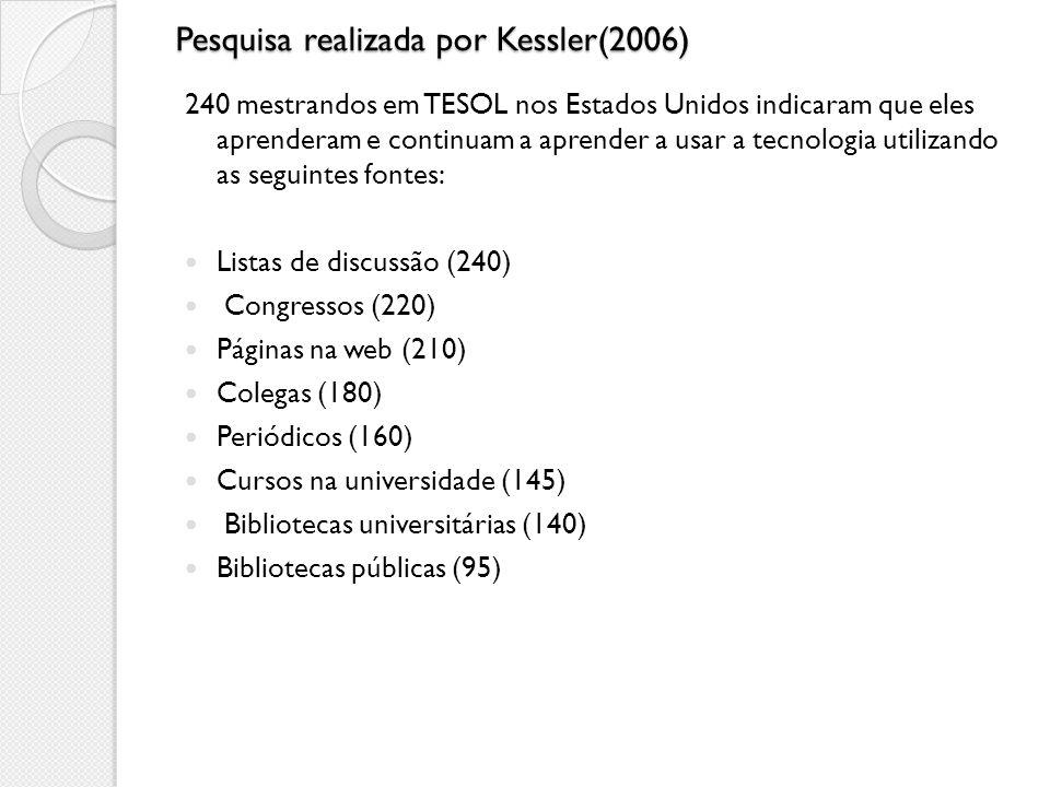 Pesquisa realizada por Kessler(2006) 240 mestrandos em TESOL nos Estados Unidos indicaram que eles aprenderam e continuam a aprender a usar a tecnolog