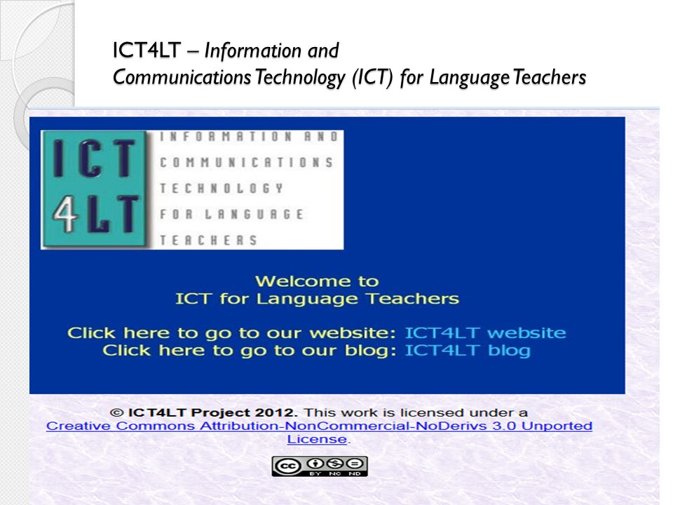 ICT4LT – Information and Communications Technology (ICT) for Language Teachers