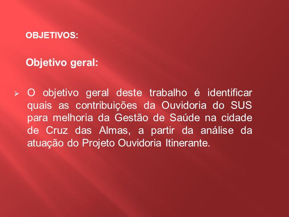 Objetivos Específicos : Relatar como se da à assistência realizada pela Ouvidoria do SUS no município de Cruz das Almas - BA.