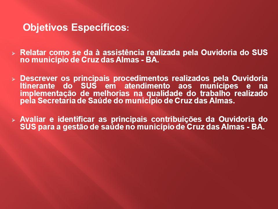 Objetivos Específicos : Relatar como se da à assistência realizada pela Ouvidoria do SUS no município de Cruz das Almas - BA. Descrever os principais