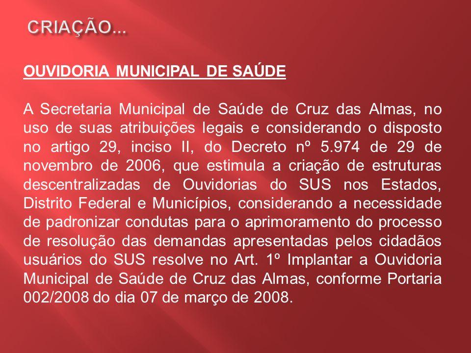 OUVIDORIA MUNICIPAL DE SAÚDE A Secretaria Municipal de Saúde de Cruz das Almas, no uso de suas atribuições legais e considerando o disposto no artigo