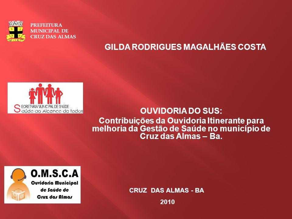 OUVIDORIA DO SUS: Contribuições da Ouvidoria Itinerante para melhoria da Gestão de Saúde no município de Cruz das Almas – Ba. CRUZ DAS ALMAS - BA 2010