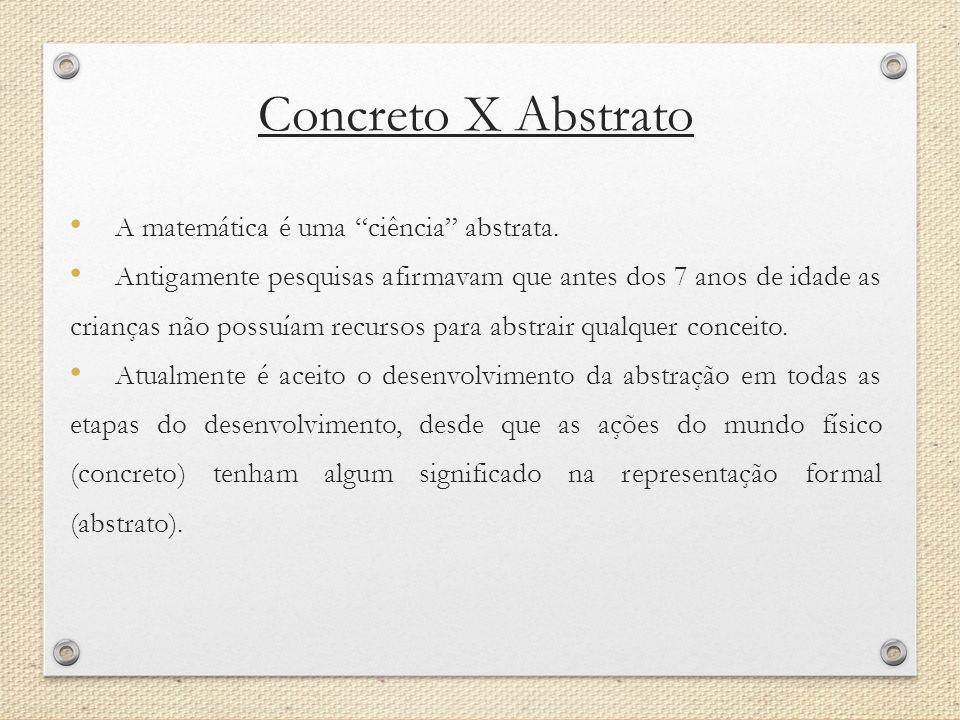 Concreto X Abstrato A matemática é uma ciência abstrata. Antigamente pesquisas afirmavam que antes dos 7 anos de idade as crianças não possuíam recurs