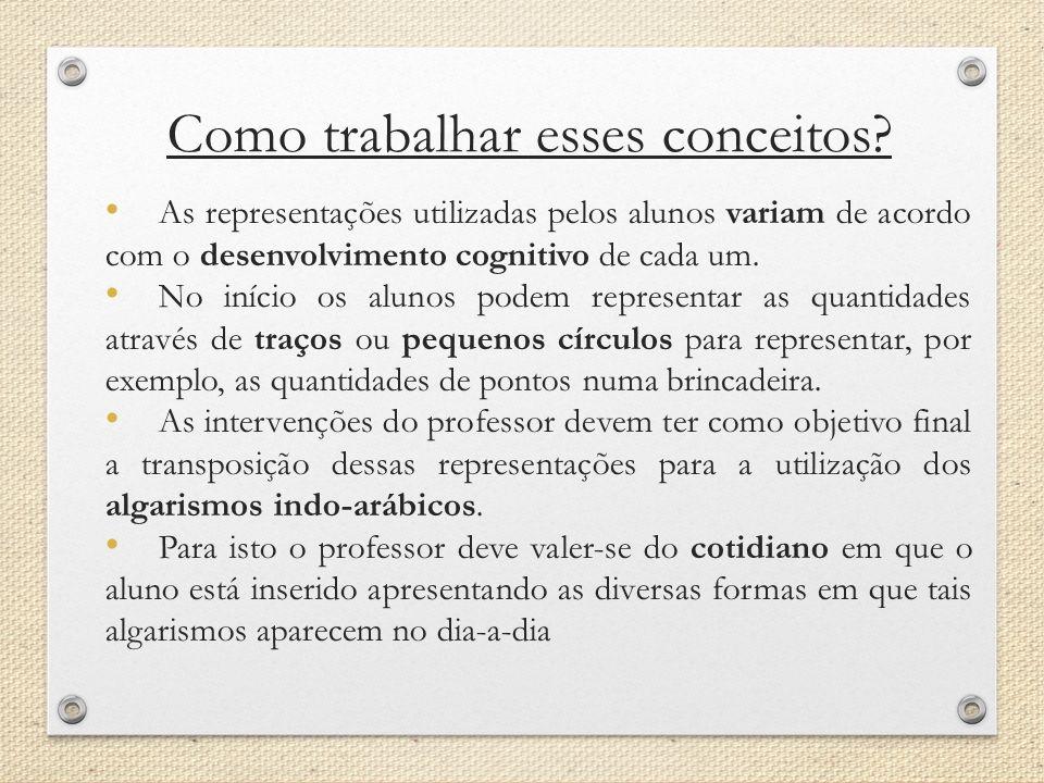 Como trabalhar esses conceitos? A s representações utilizadas pelos alunos variam de acordo com o desenvolvimento cognitivo de cada um. N o início os