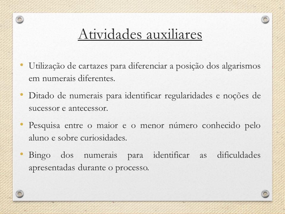 Atividades auxiliares Utilização de cartazes para diferenciar a posição dos algarismos em numerais diferentes. Ditado de numerais para identificar reg
