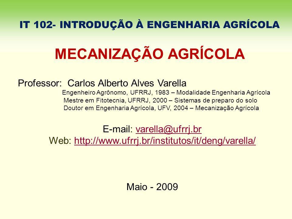 IT 102- INTRODUÇÃO À ENGENHARIA AGRÍCOLA Professor: Carlos Alberto Alves Varella Engenheiro Agrônomo, UFRRJ, 1983 – Modalidade Engenharia Agrícola Mes