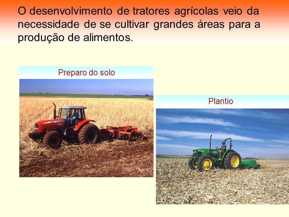 O desenvolvimento de tratores agrícolas veio da necessidade de se cultivar grandes áreas para a produção de alimentos. Preparo do solo Plantio