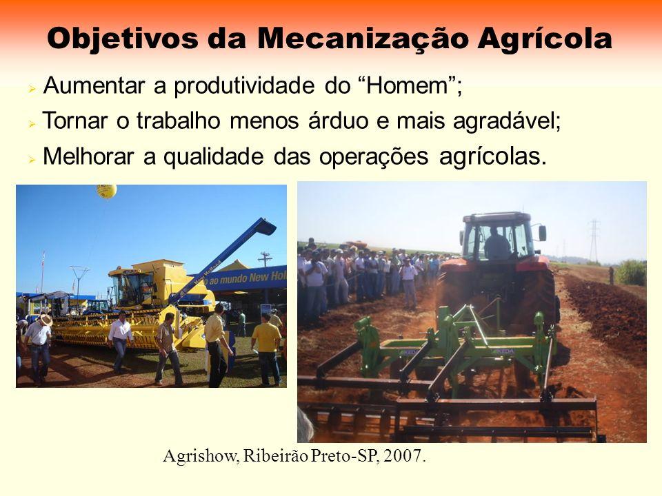 Objetivos da Mecanização Agrícola Aumentar a produtividade do Homem; Tornar o trabalho menos árduo e mais agradável; Melhorar a qualidade das operaçõe