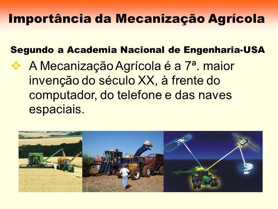 Importância da Mecanização Agrícola Segundo a Academia Nacional de Engenharia-USA A Mecanização Agrícola é a 7ª. maior invenção do século XX, à frente