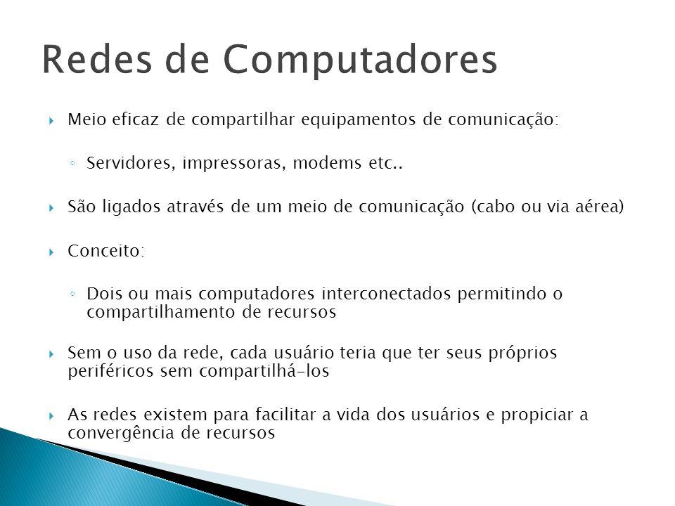 Meio eficaz de compartilhar equipamentos de comunicação: Servidores, impressoras, modems etc.. São ligados através de um meio de comunicação (cabo ou