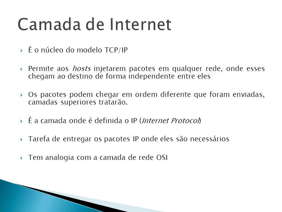 É o núcleo do modelo TCP/IP Permite aos hosts injetarem pacotes em qualquer rede, onde esses chegam ao destino de forma independente entre eles Os pac