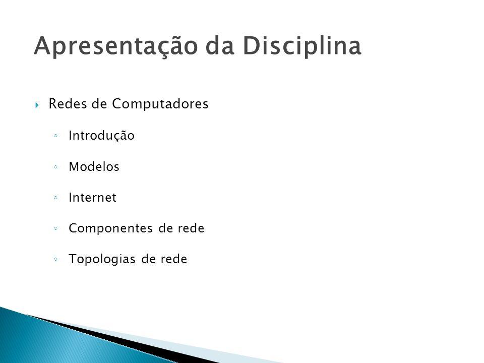 Redes de Computadores Introdução Modelos Internet Componentes de rede Topologias de rede Apresentação da Disciplina