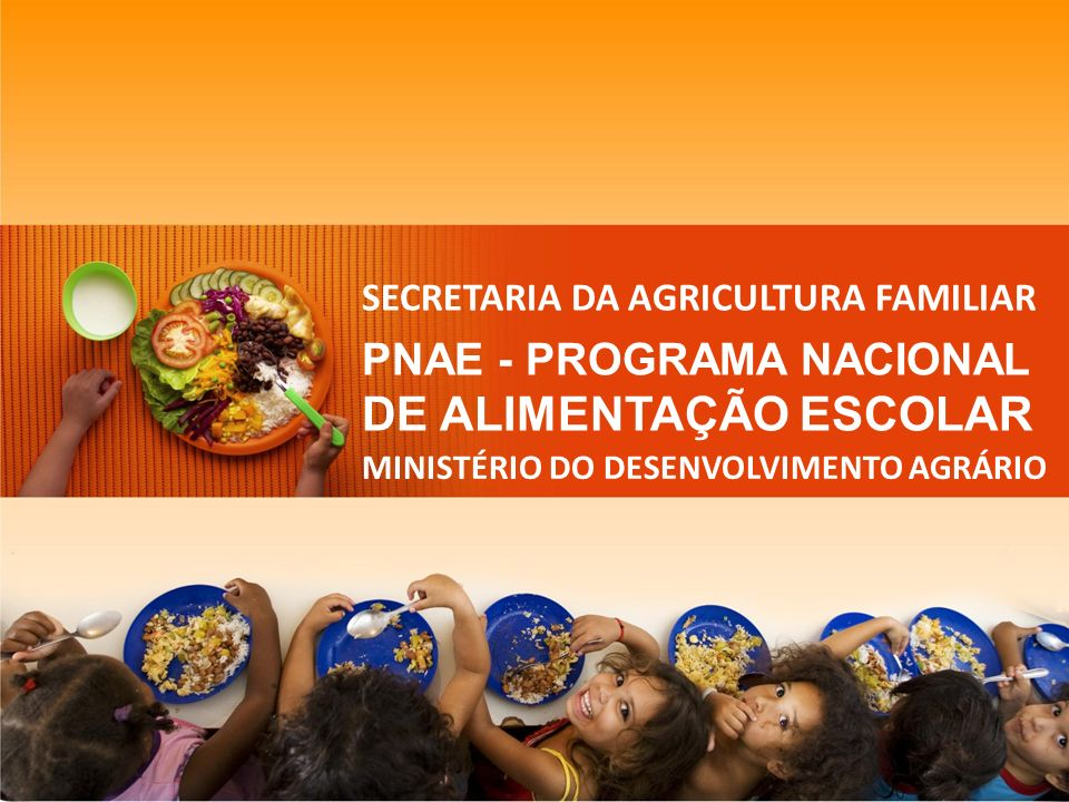 AGRICULTURA FAMILIAR NA ALIMENTAÇÃO ESCOLAR PNAE – Programa Nacional de Alimentação Escolar Programa de competência do FNDE implantado em 1955 Junho de 2009 é publicada a Lei 11.947 Art.