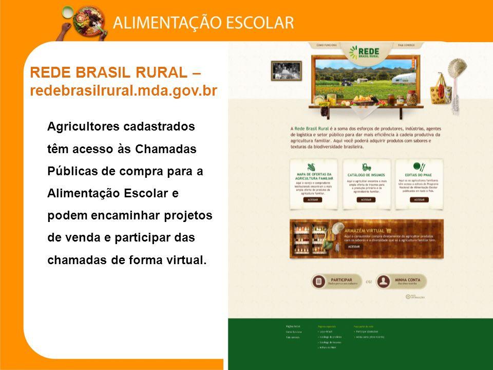 REDE BRASIL RURAL – redebrasilrural.mda.gov.br Agricultores cadastrados têm acesso às Chamadas Públicas de compra para a Alimentação Escolar e podem encaminhar projetos de venda e participar das chamadas de forma virtual.