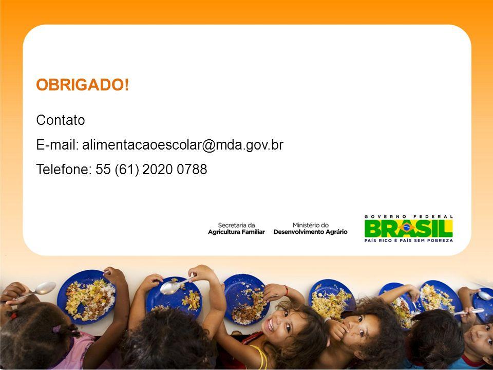 OBRIGADO! Contato E-mail: alimentacaoescolar@mda.gov.br Telefone: 55 (61) 2020 0788