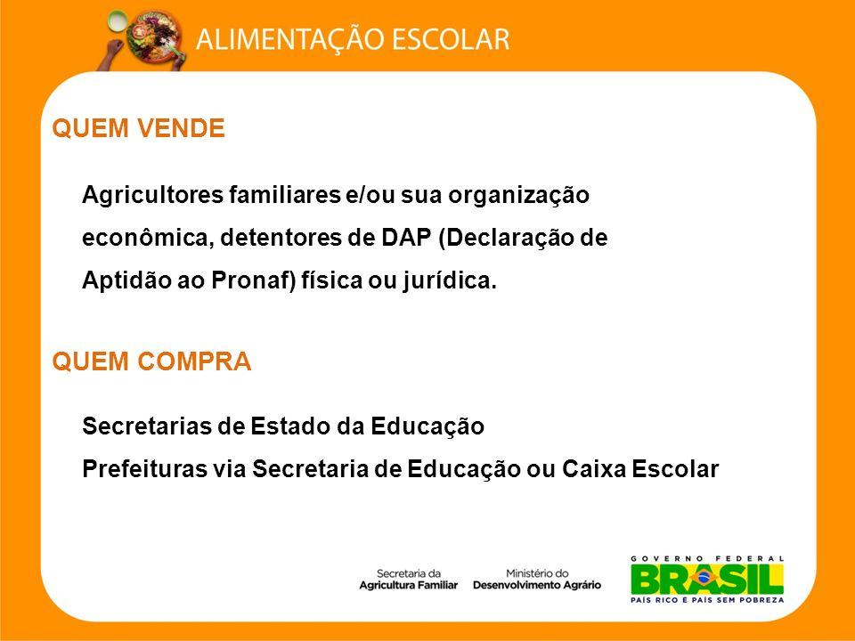 QUEM VENDE Agricultores familiares e/ou sua organização econômica, detentores de DAP (Declaração de Aptidão ao Pronaf) física ou jurídica. QUEM COMPRA