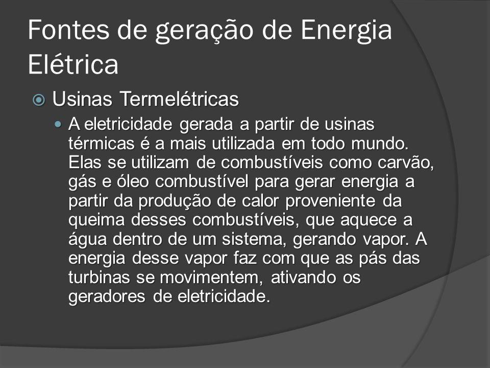 Usinas Termelétricas Usinas Termelétricas A eletricidade gerada a partir de usinas térmicas é a mais utilizada em todo mundo.