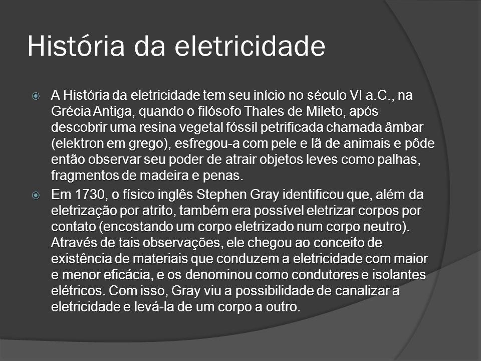 História da eletricidade Benjamim Franklin Benjamim Franklin Foram os estudos sobre a natureza elétrica dos raios e a invenção do para-raios que tornaram Franklin famoso e reconhecido nos vários círculos científicos europeus importantes da época.