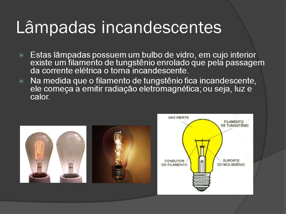 Lâmpadas incandescentes Estas lâmpadas possuem um bulbo de vidro, em cujo interior existe um filamento de tungstênio enrolado que pela passagem da corrente elétrica o torna incandescente.