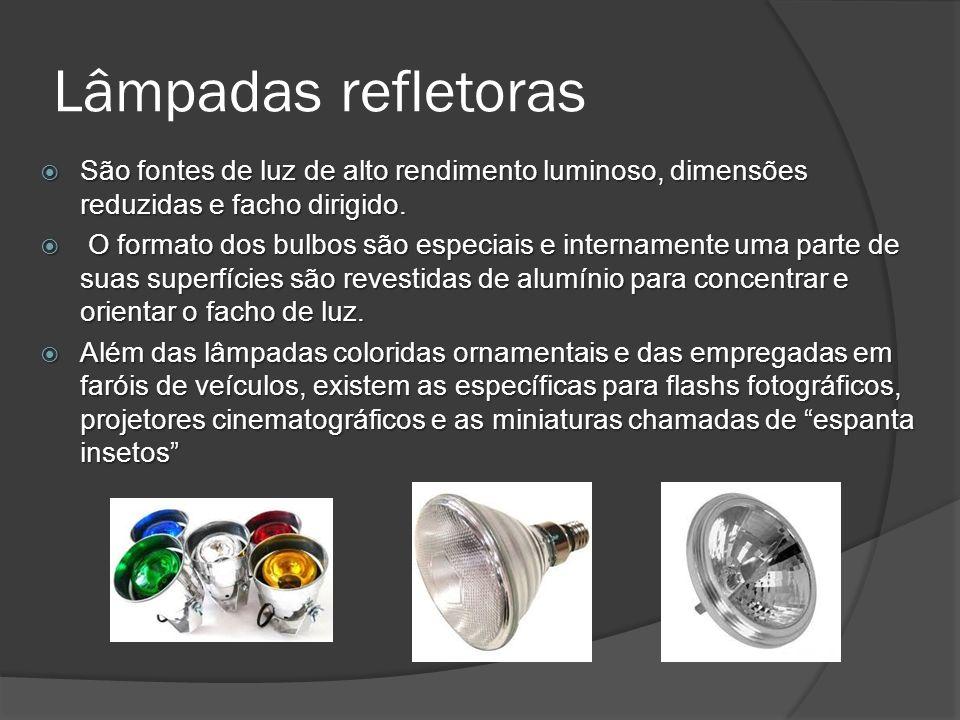 Lâmpadas refletoras São fontes de luz de alto rendimento luminoso, dimensões reduzidas e facho dirigido.