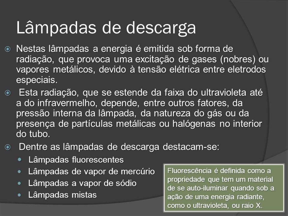 Lâmpadas de descarga Nestas lâmpadas a energia é emitida sob forma de radiação, que provoca uma excitação de gases (nobres) ou vapores metálicos, devido à tensão elétrica entre eletrodos especiais.