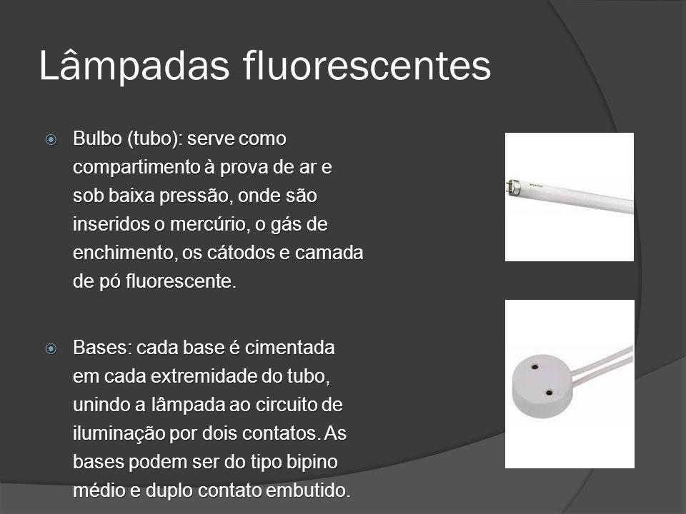 Lâmpadas fluorescentes Bulbo (tubo): serve como compartimento à prova de ar e sob baixa pressão, onde são inseridos o mercúrio, o gás de enchimento, os cátodos e camada de pó fluorescente.