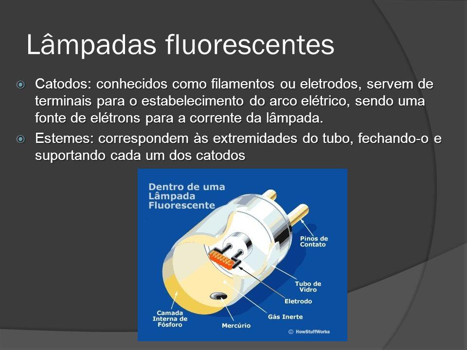 Lâmpadas fluorescentes Catodos: conhecidos como filamentos ou eletrodos, servem de terminais para o estabelecimento do arco elétrico, sendo uma fonte de elétrons para a corrente da lâmpada.