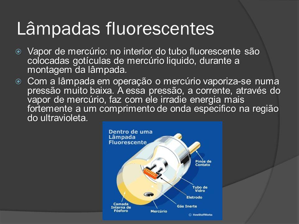 Lâmpadas fluorescentes Vapor de mercúrio: no interior do tubo fluorescente são colocadas gotículas de mercúrio liquido, durante a montagem da lâmpada.