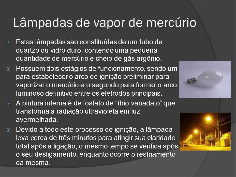 Lâmpadas de vapor de mercúrio Estas lâmpadas são constituídas de um tubo de quartzo ou vidro duro, contendo uma pequena quantidade de mercúrio e cheio de gás argônio.