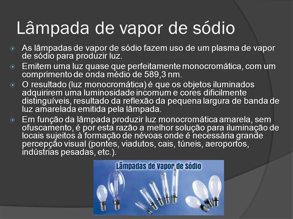 Lâmpada de vapor de sódio As lâmpadas de vapor de sódio fazem uso de um plasma de vapor de sódio para produzir luz.