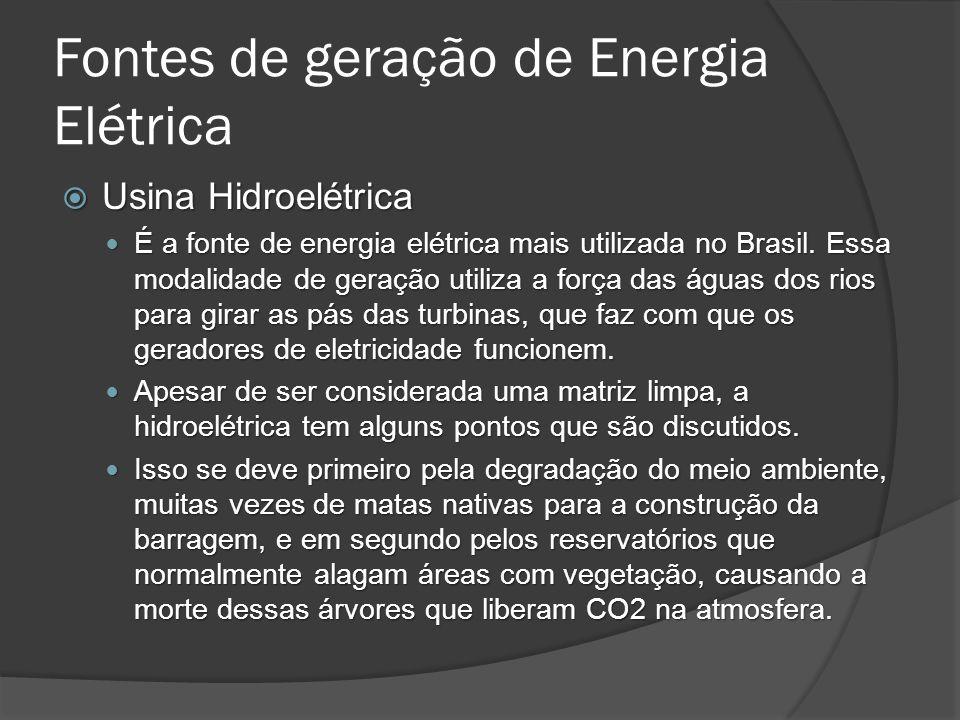 Fontes de geração de Energia Elétrica Usina Hidroelétrica Usina Hidroelétrica É a fonte de energia elétrica mais utilizada no Brasil.