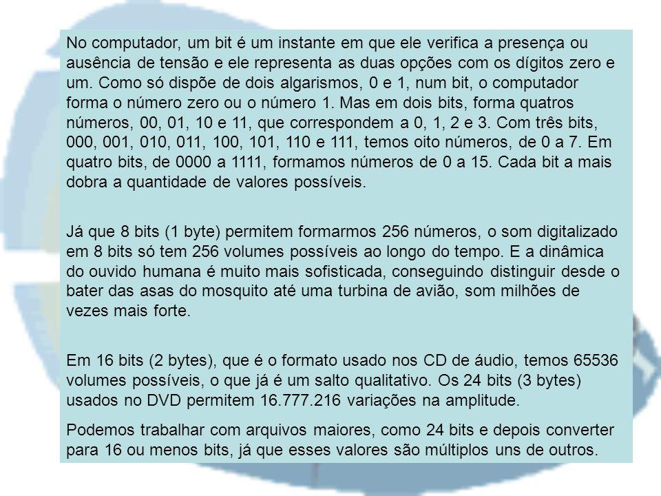 No computador, um bit é um instante em que ele verifica a presença ou ausência de tensão e ele representa as duas opções com os dígitos zero e um.