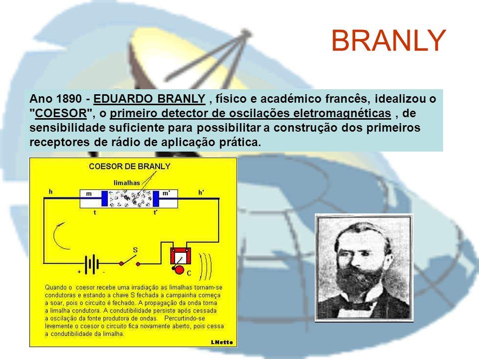 Ano 1890 - EDUARDO BRANLY, físico e académico francês, idealizou o COESOR , o primeiro detector de oscilações eletromagnéticas, de sensibilidade suficiente para possibilitar a construção dos primeiros receptores de rádio de aplicação prática.