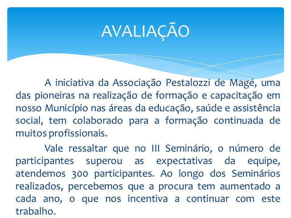 Não podemos deixar de citar, que os Seminários não oferecem custos para a Associação, já que todos os gastos advêm de patrocinadores que firmaram parceria com a Pestalozzi e contribuem para o desenvolvimento deste trabalho.