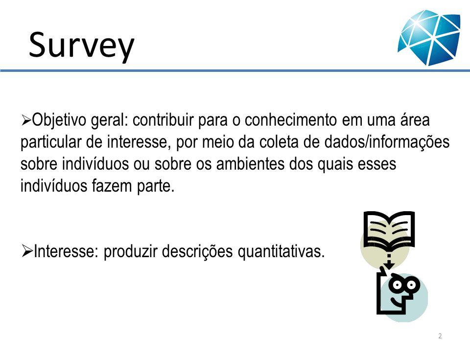 Survey É apropriada quando: se deseja responder questões do tipo: o quê?, por quê?, como.