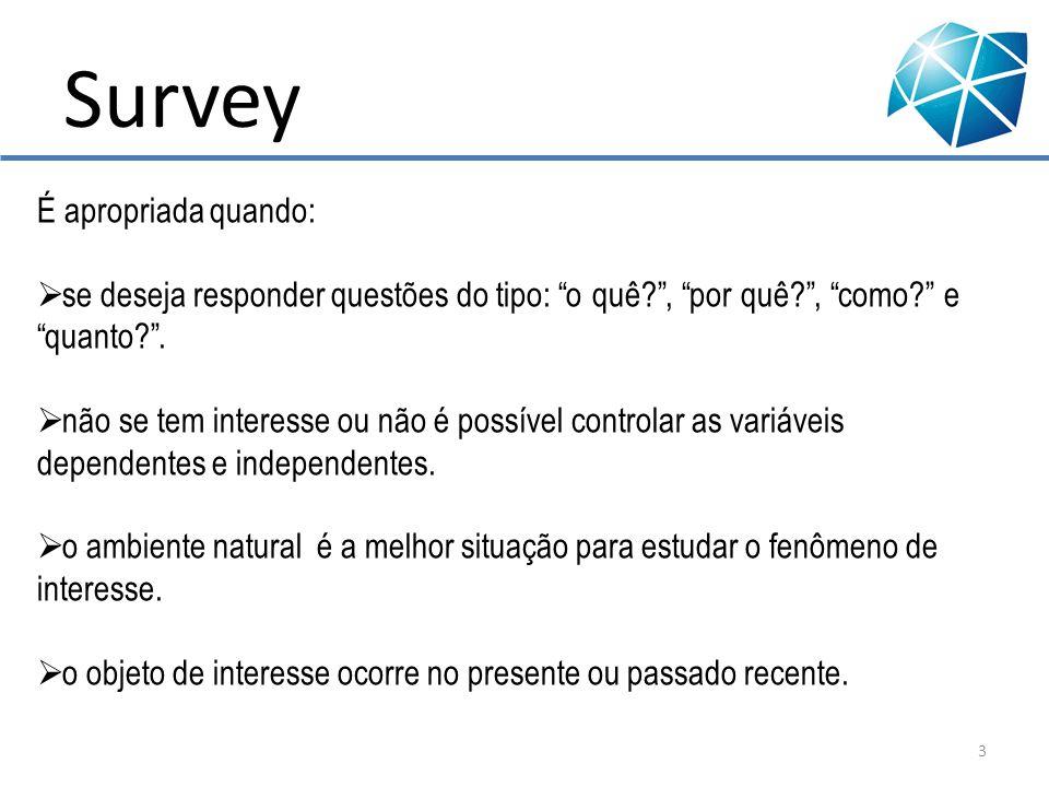Survey Tipos de instrumentos de coleta de dados: Entrevista com questionário; Pesquisa por telefone; Internet; Mala direta.