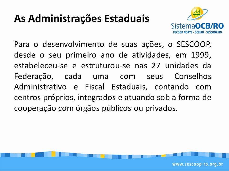 As Administrações Estaduais Para o desenvolvimento de suas ações, o SESCOOP, desde o seu primeiro ano de atividades, em 1999, estabeleceu-se e estruturou-se nas 27 unidades da Federação, cada uma com seus Conselhos Administrativo e Fiscal Estaduais, contando com centros próprios, integrados e atuando sob a forma de cooperação com órgãos públicos ou privados.