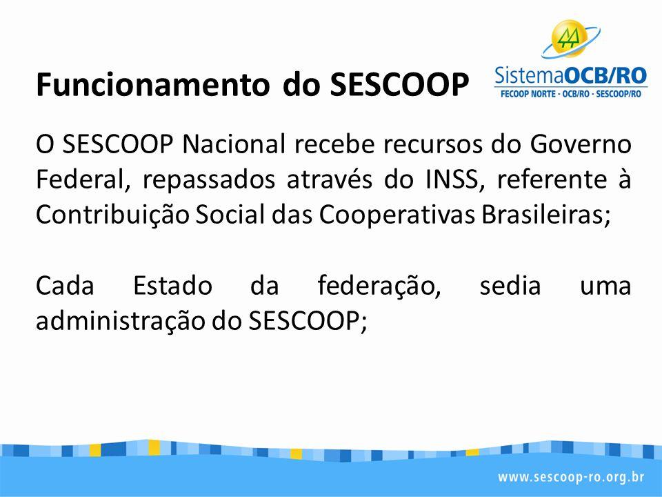 Funcionamento do SESCOOP O SESCOOP Nacional recebe recursos do Governo Federal, repassados através do INSS, referente à Contribuição Social das Cooperativas Brasileiras; Cada Estado da federação, sedia uma administração do SESCOOP;