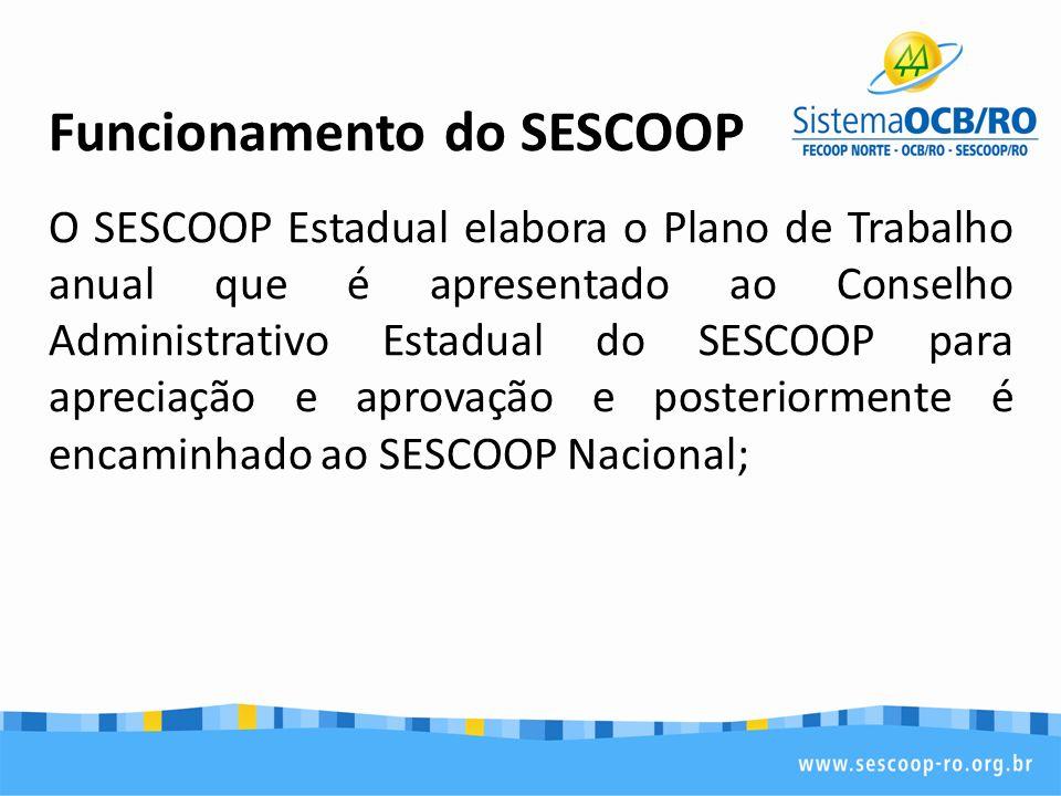 Funcionamento do SESCOOP O SESCOOP Estadual elabora o Plano de Trabalho anual que é apresentado ao Conselho Administrativo Estadual do SESCOOP para apreciação e aprovação e posteriormente é encaminhado ao SESCOOP Nacional;