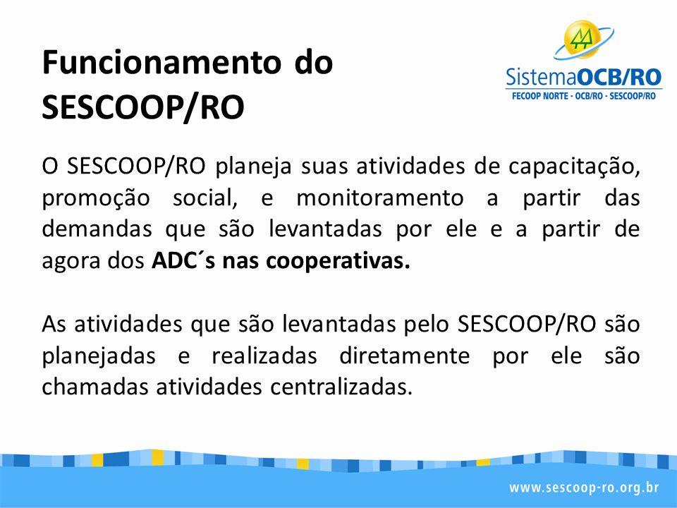 Funcionamento do SESCOOP/RO O SESCOOP/RO planeja suas atividades de capacitação, promoção social, e monitoramento a partir das demandas que são levant
